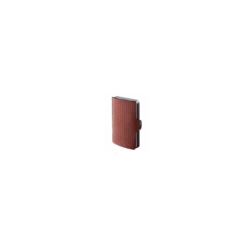 IClip Smart Wallet Mini Portafoglio Unisex Effetto Traforato Colore Oak Vera Pelle