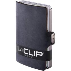 IClip Smart Wallet Mini Portafoglio Unisex Effetto Soft Scamosciato Nabuk Colore Nero Vera Pelle