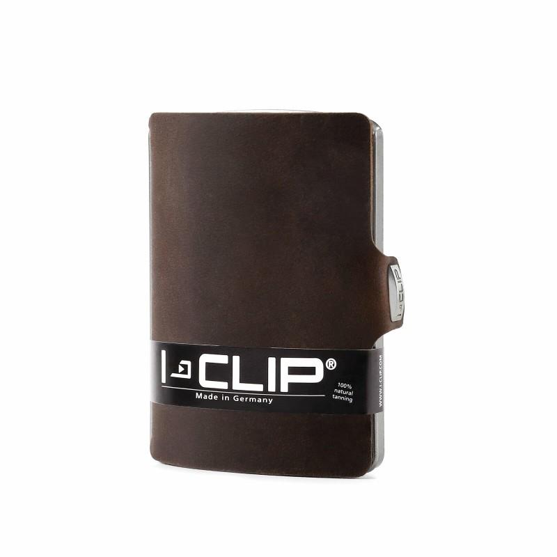 IClip Smart Wallet Mini Portafoglio Unisex Effetto Soft Scamosciato Nabuk Colore Moro Vera Pelle
