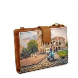 Ynot  Portafoglio 3in1 Donna Tracollina Clutch Monete Roma Colosseo Fantasia Rome Vita