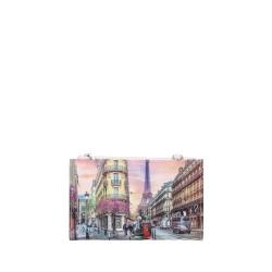 Ynot  Portafoglio 3in1 Donna Tracollina-Clutch-Monete Parigi Torre Eiffel Fantasia Paris
