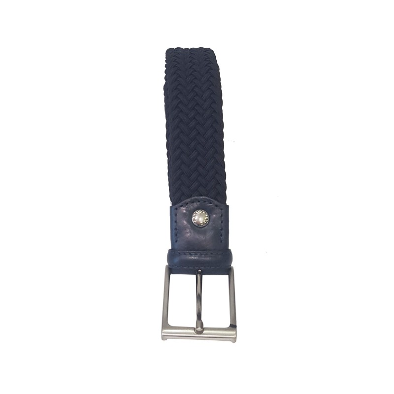 Cintura Uomo Intrecciata Blu Cotone misto Pelle