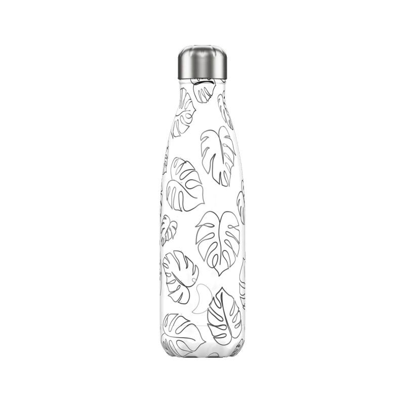 Chilly's Bottle 500ml Line Art Drawing Leaf Foglie b500trele