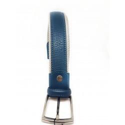 Cintura Uomo Blu Scamosciata Pelle