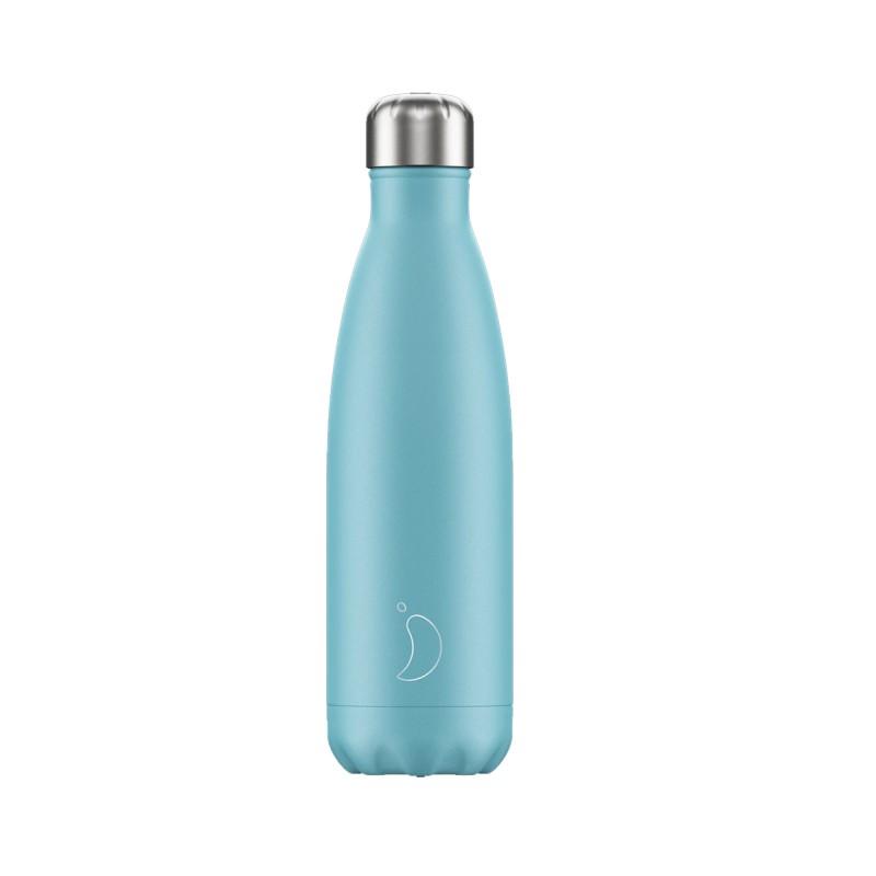 Chilly's Bottle Blu Pastello Pastel Edition Blue 500ml Bottiglia Termica Acciaio Articolo 500420