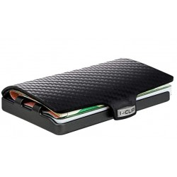 IClip Carbon Black Gun Metal Smart Wallet Mini Portafoglio Unisex Nero Vera Pelle 244721