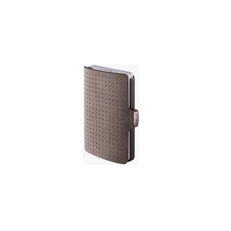 IClip Smart Wallet Serie Black GunMetal Mini Portafoglio Unisex Effetto Traforato Colore Verde Olive Vera Pelle 24476