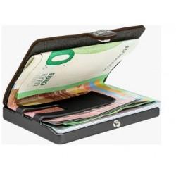 IClip Smart Wallet Serie Black Gun Metal Mini Portafoglio Unisex Scamosciato Soft Touch Verde Olive Vera Pelle 245575