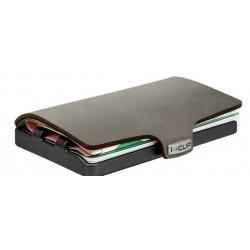 IClip Smart Wallet Serie Black Gun Metal Mini Portafoglio Unisex Scamosciato Soft Touch Verde Olive Vera Pelle