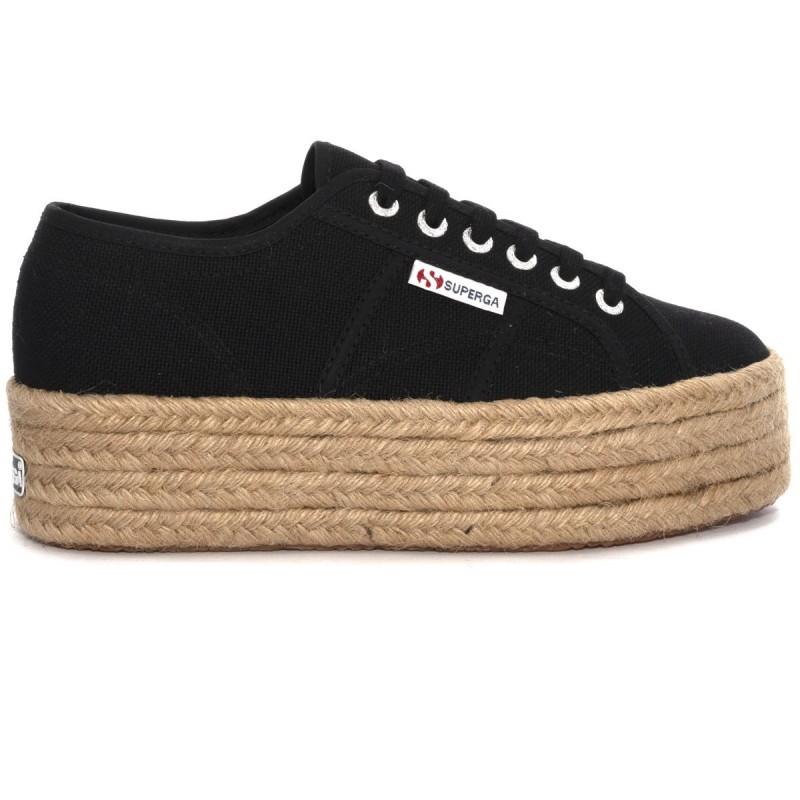 Superga Platform 4 Cm Espradillas Rope Nero 999 Sneaker Donna S51186W