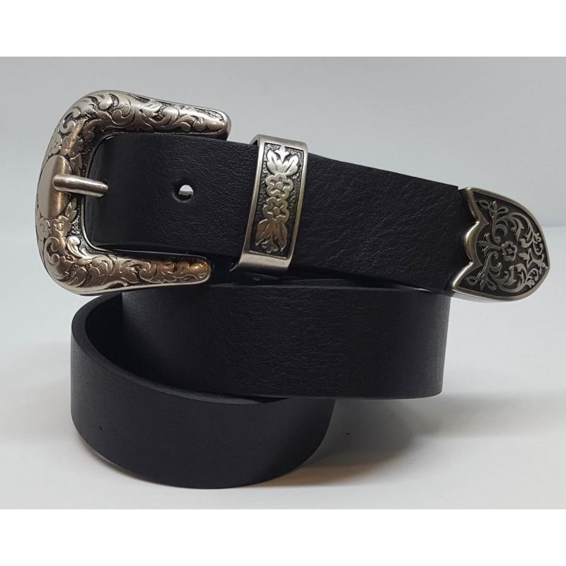 Cintura Donna stile country Nero Pelle Made in Italy Artigianale